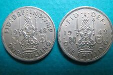 U.K.  1948-49   Lot of 2  ONE SHILLING  COINS, King George VI, Extra Fine