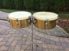"""Vintage 1950s SLINGERLAND  13"""" & 14"""" TITO PUENTE BRASS TIMBALES W/ CALF HEADS"""