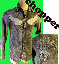 Chopper motorcycle wings embroidered biker shirt outlaw studded patch vintage