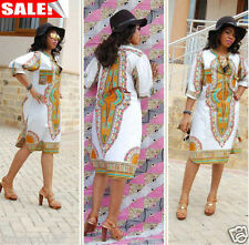 Womens Summer Casual Deep V-Neck Traditional African Print Party Cocktail Dress