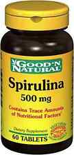 5 bottles good'n natural Spirulina 500mg 60 tabs/bottle