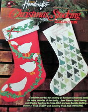 """Christmas Stocking pattern Cross Stitch quilted Applique variations 15"""" leaflet"""