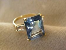 LARGE DEEP BLUE TOPAZ, CZ, & STERLING SILVER RING SIZE 9