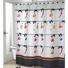 3-Pc Avanti Couture Girls Fabric Shower Curtain & Rugs Bow Polka Dot French Chic
