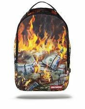 SPRAYGROUND FIRE MONEY BURNING BENJAMINS US DOLLARS USD URBAN BOOK BAG BACK