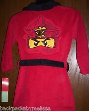 Lego NINJAGO Kai Bathrobe Boy's 4 NeW Soft Plush Red Bath Robe Legos NWT