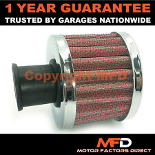 CAR MOTORCYCLE QUAD BIKE 18MM RED CHROME ROUND CRANK CASE ENGINE BREATHER FILTER
