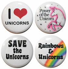 "1"" (25mm) 4 x I Love Unicorns Button Badge Pin Set - MADE IN UK"