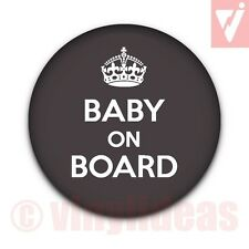 "25MM 1"" BABY ON BOARD Badge Button Expectant Mum Mummy Pregnant Pregnancy Crown"