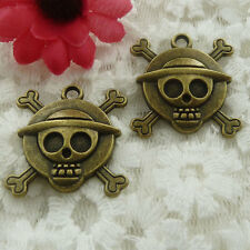 Free Ship 42 pieces bronze plated skull charms 28x27mm #585