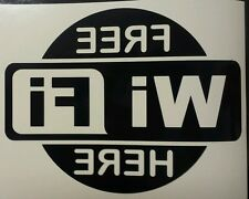 Free Wi Fi  Here sign - Black reverse  shop Window Vinyl graphics sticker Decal