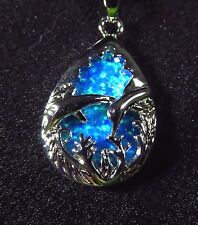Sterling 925 Silver SF Pendant & Necklace Blue Lab Fire Opal DOLPHINS IN SEA