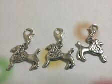 Nouveau 3 silver tone mignon chien clip on charms pour bracelets/colliers