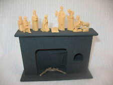VINTAGE Dollhouse Miniature SONIA MESSER Fireplace & tiny Nativity figures ~9G6
