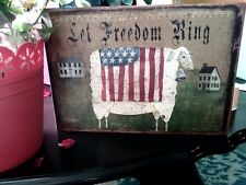Primitive Sign Let Freedom Ring Flag Americana Sheep Distressed