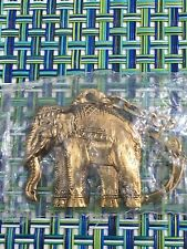 VTG BRASS ELEPHANT KEYCHAIN WITH SEAT ON BACK NEW IN PACKAGE