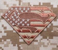 SUPERMAN AMERICAN FLAG TACTICAL OP ISAF USA MILITARY DESERT VELCRO® BRAND PATCH