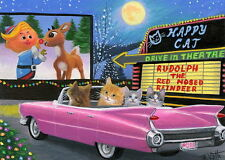 Kittens cat Christmas Rudolph car drive in moon fantasy OE aceo print art