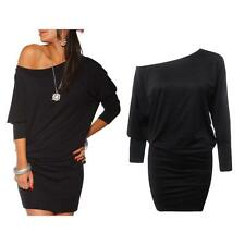 Women Dress Long Sleeve Off Shoulder Bodycon Pencil Batwing Tunic Jumper Dress