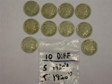 (10 DIFFERENT  COINS) (5) 1920's (5) 1930's BUFFALO NICKEL LOT -GREAT GIFT-
