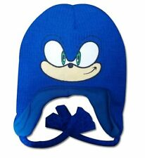 Sonic Blue Plush Beanie Embroidered Winter Fleece Knit Laplander Ski Cap Hat-New