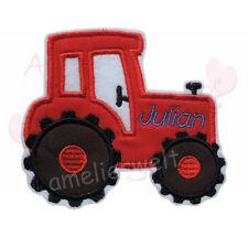 Traktor mit Name rot Applikation Aufbügler Aufnäher Patch Bügelbild trekker