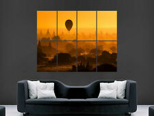 Myanmar BIRMANIA SUNSET templi Hot Air numerazione di riferimento Wall Poster Art Print GRANDE ENORME