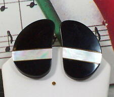 Buffalo Horn & Abalone Shell Clip - On Earrings. BHER003