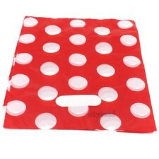 100pcs Bulk White Dot Red Plastic Gift Carrier Bag Wholesale Retail 24x19.5cm