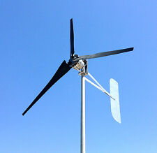 ULTRA LOW WIND Turbine Generator 1000 Watt 3 BLACK Blade 48 DC 2-WIRE  3.75 kWh