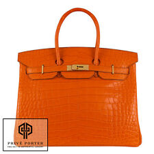 ORANGE BIRKIN 35CM HERMES FEU MATTE ALLIGATOR CROCODILE GOLD GHW BAG BNIB