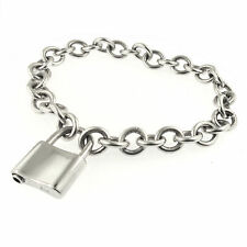Padlock Clasp Cable Chain Charm Bracelet Sterling Silver Lock Closure Oval Links
