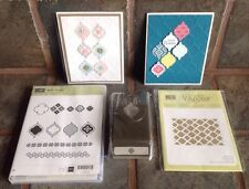 Retired Stampin Up Bundle MOSAIC MADNESS Stamps Punch & Modern Embossing Folder