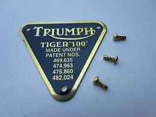 TRIUMPH TIGER 100 TIMING COVER PATENT PLATE BADGE