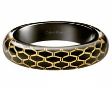 CALVIN KLEIN,CK ABSTRACT,BRACCIALE RIGIDO DONNA,MISURA M,MEDIUM,NERO,ORO,RESINA