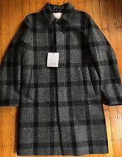 NWT Mackintosh Scotland Tweed Car Coat Gray Check Plaid 42 Large $1100