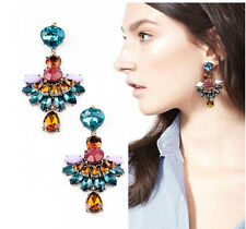 New Fashion Luxury Party Colorful Resin Crystal Drop Flower Dangle Earring Stud