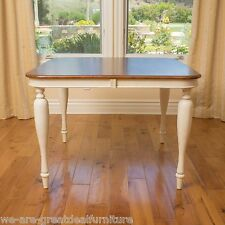 Square Dark Brown & Antique White Wood Dining Room Table