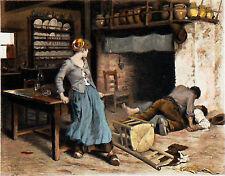 RIVALITÉ AMOUREUSE dans une FERME -Gravure 19e, d'après peinture de DEBAT-PONSAN