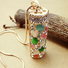 Fashion Gold Plated Column Pendant Crystal mosaic Long Necklac  L136