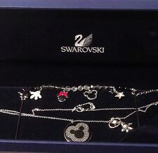 Swarovski Signed Crystal Mickey Mouse Necklace & Bracelet Set MIB