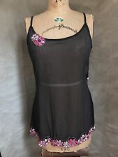 Victoria's Secret Black Sheer Mesh NIGHTIE Embroidered PINK FLOWERS L Negligee