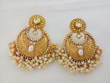 Indian Traditional Jewelry Pearl Kundan Earings Bollywood Ethnic Golden Set