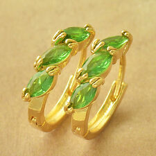 Lovely Yellow Gold Filled Green Peridot Wheat Womens Girls Pierced Hoop Earrings
