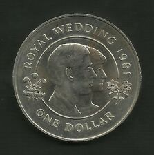 1981 Bermuda Royal Wedding Charles & Diana One Dollar Coin