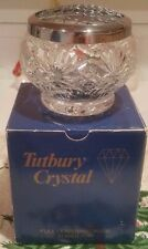 Tutbury crystal rose bowl with silver lid in box