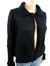 #4279 INIS MEAIN IRELAND BABY ALPACA & SILK BLACK 1 BUTTON CARDIGAN SWEATER Med