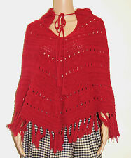 Vintage 70's Red Cable Knit Hippie Boho Poncho Sweater - Fits Small to Medium