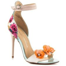 Chinese Laundry Lullaby Open Floral Sandal Ankle Strap Print Back Stiletto 9.5 M
