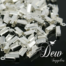 100 x Iron Folding Crimp Ends, Silver color, 12x4mm suitable for cords cord